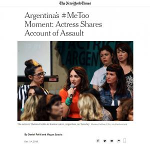 """New York Times Article 12-14-18: """"Argentina's #MeToo Moment"""""""